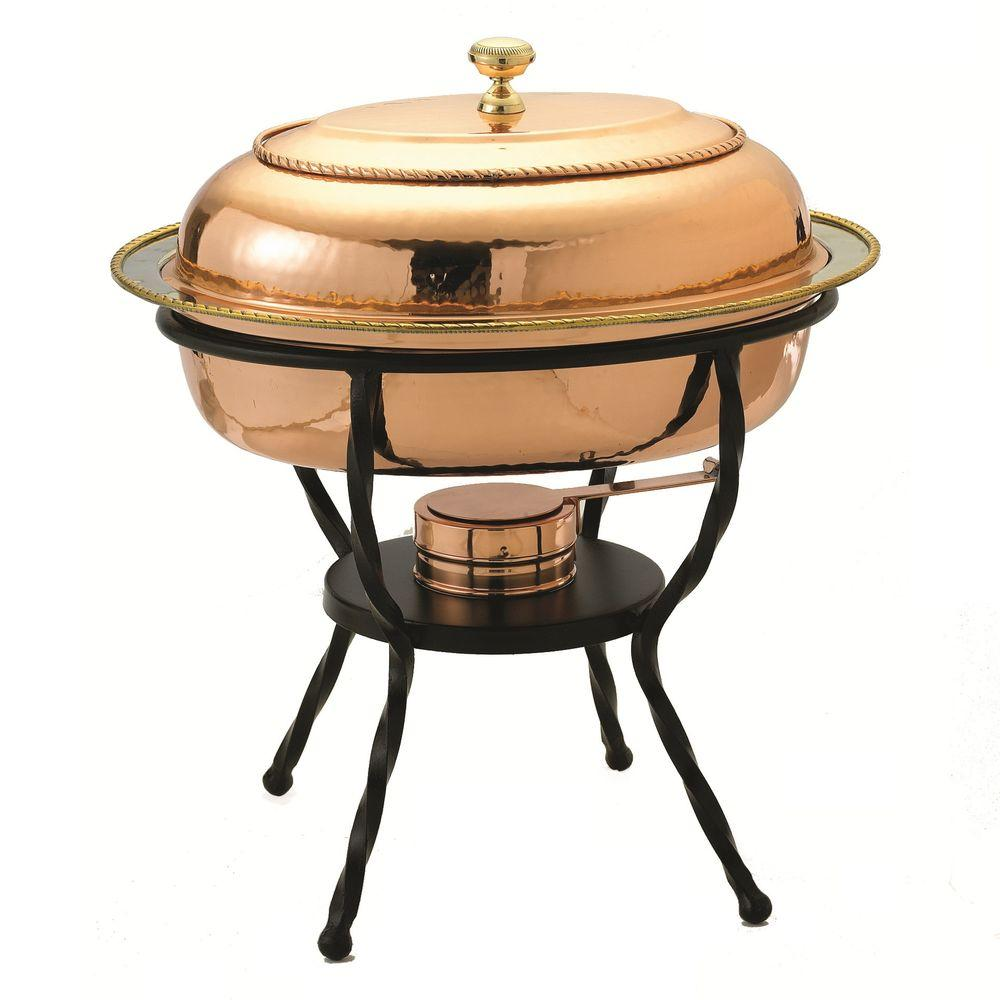 Old Dutch 6 qt. 16.5 in. x 12.75 in. x 19 in. Oval Decor Copper over Stainless Steel Chafing Dish