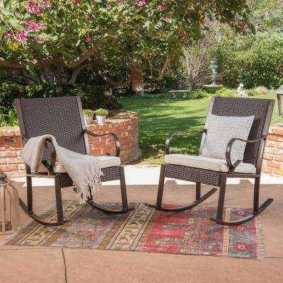 Harmony Dark Brown Wicker Outdoor Rocking Chairs with Cream Cushions (2-Pack)