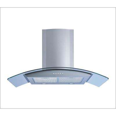 36 in. Wall Mount Convertible Range Hood in Stainless Steel and Glass with Illuminated Push Button and Aluminum Filters