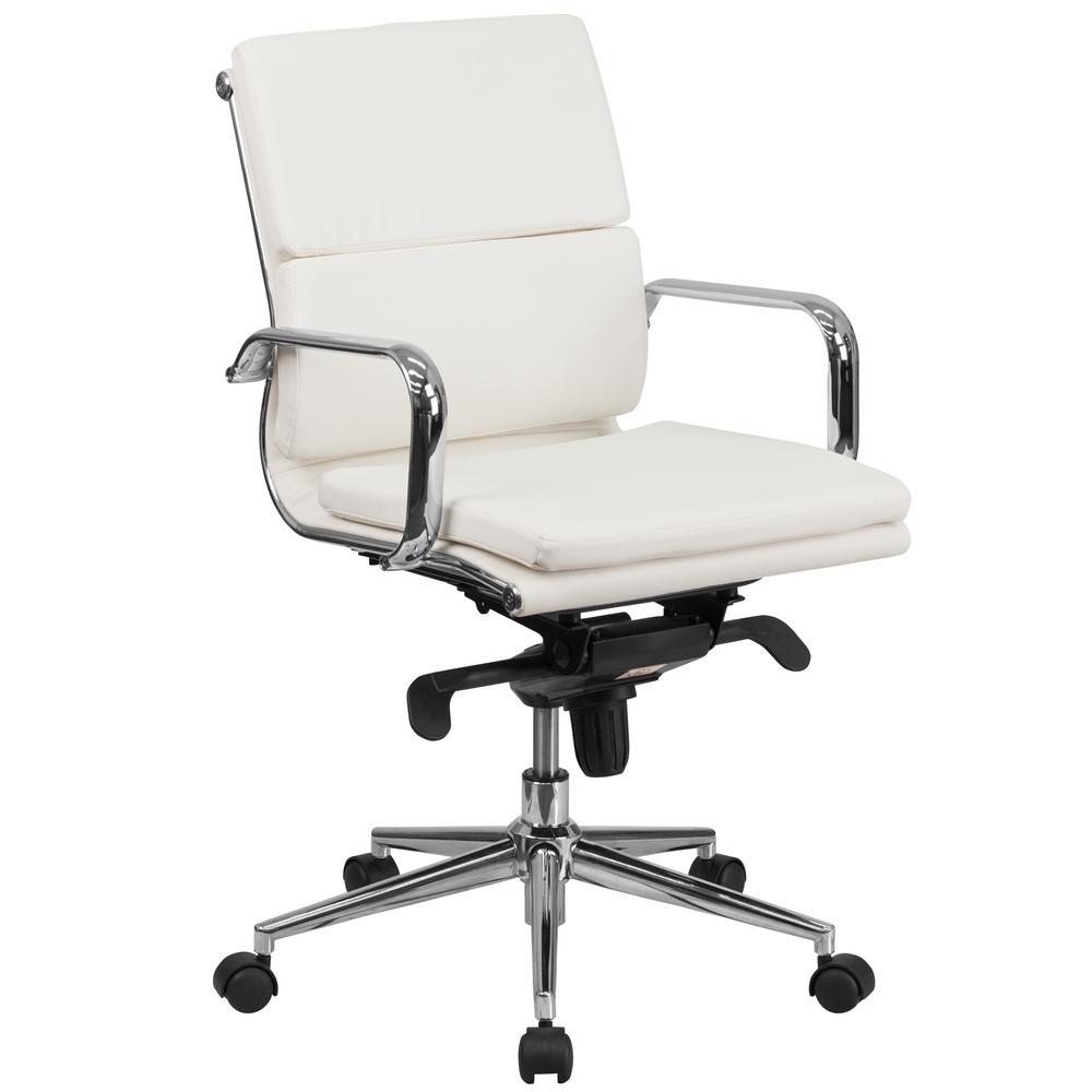FLASH Mid-Back White Leather Executive Swivel Office Chai...