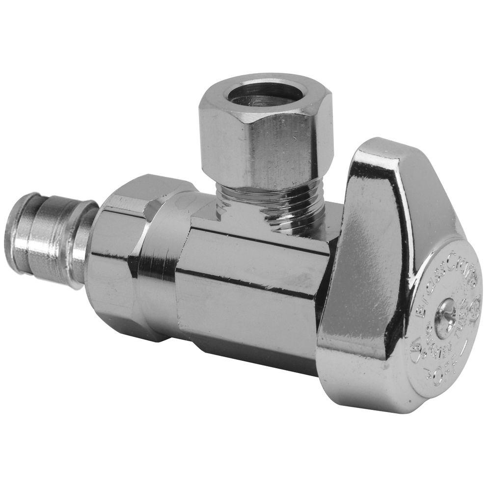 BrassCraft 1/2 in. Nominal Cold Expansion PEX Barb Inlet x 3/8 in. O.D. Compression Outlet Brass 1/4-Turn Angle Valve (5-Pack)