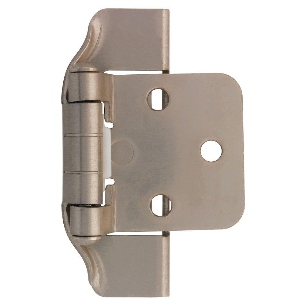 1/2 in. Satin Nickel Semi-Wrap Overlay Hinge (1-Pair)