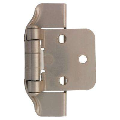 Satin Nickel Semi-Wrap 1/2 in. Overlay Cabinet Hinge (1-Pair)