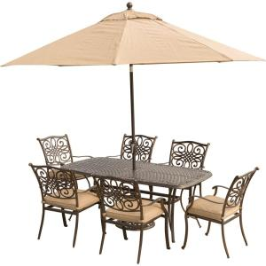 Hanover Traditions 7-Piece Aluminum Outdoor Dining Set with Rectangular Cast Table,... by Hanover