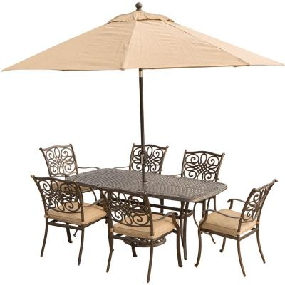 Traditions 7-Piece Aluminum Outdoor Dining Set with Rectangular Cast Table, Umbrella and Base with Natural Oat Cushions
