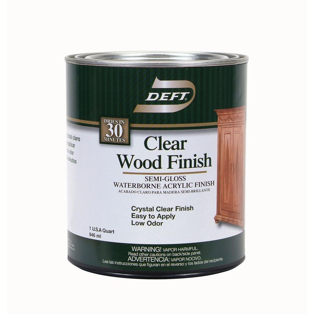 1 qt. Semi-Gloss Interior Clear Wood Finish Waterborne Acrylic