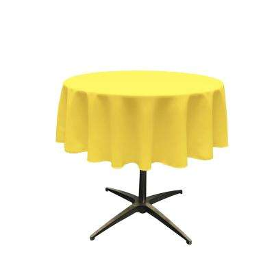58 in. Round Light Yellow Polyester Poplin Tablecloth