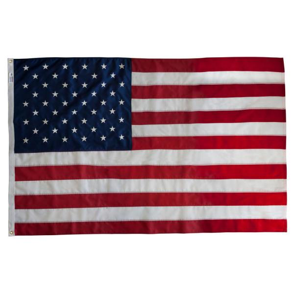Annin Flagmakers Tough Tex 4 Ft X 6 Ft Polyester U S Flag For High Winds 2720 The Home Depot