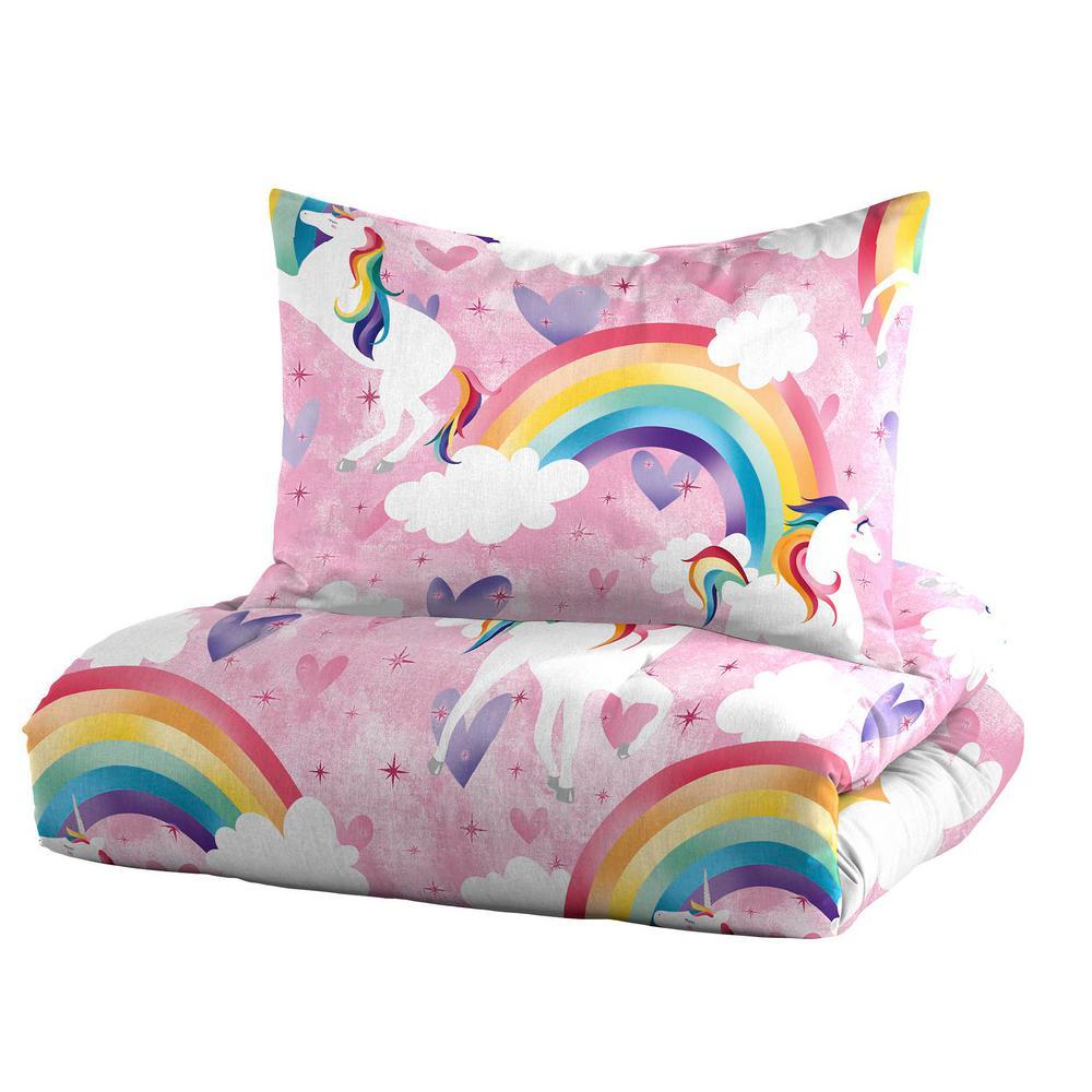 Unicorn Rainbow 2-Piece Pink Twin Mini Comforter Set