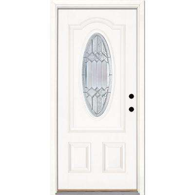 37.5 in. x 81.625 in. Mission Pointe Zinc 3/4 Oval Lite Unfinished Smooth Left-Hand Fiberglass Prehung Front Door