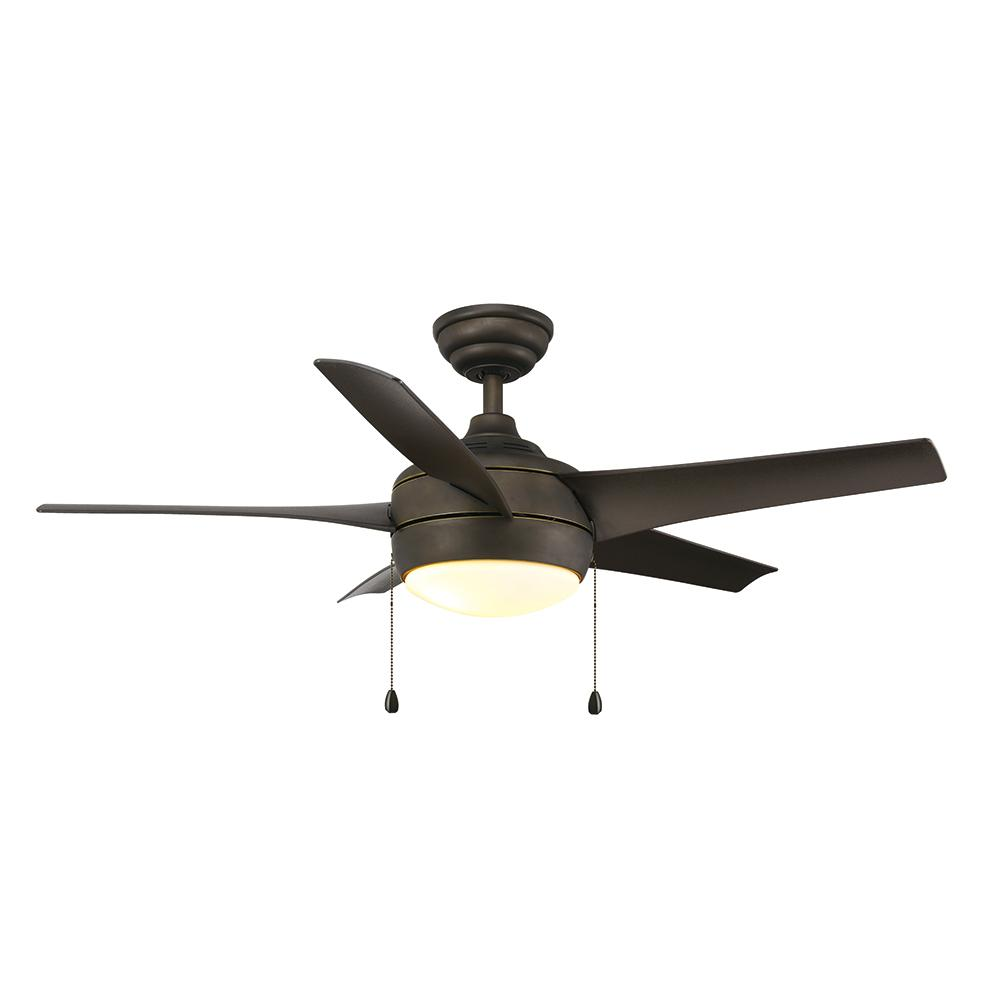 Home Decorators Collection Windward 44 In Led Oil Rubbed Bronze Ceiling Fan With Light Kit 51567 The Depot