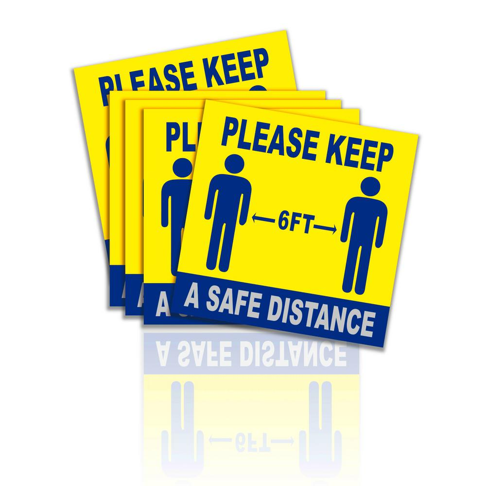 Social Apart Stand Here Sign Safety Distance Distancing Floor Decal Sticker Stop