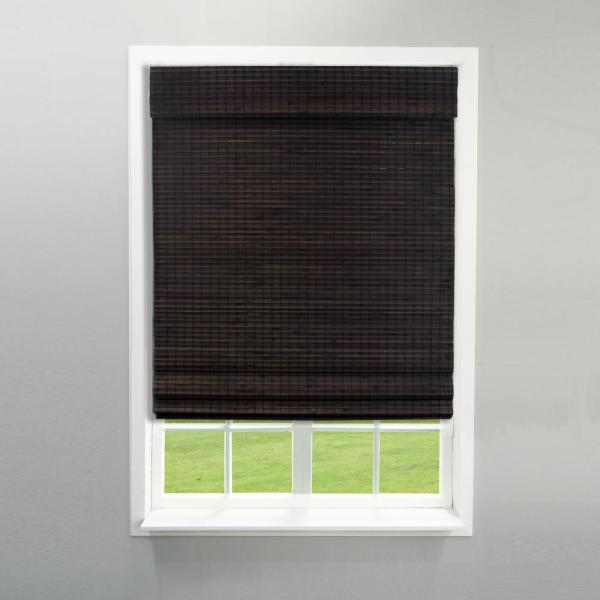 Radiance Espresso Cordless Semi Private Flat Weave Bamboo Roman Shade 34 In W X 64 In L Actual Size 33 5 In W X 64 In L 2208834e The Home Depot