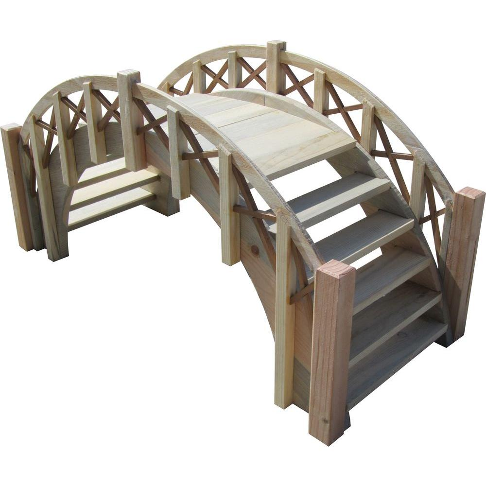 Fairy Tale Miniature Wood Garden Bridge With Lattice Railings
