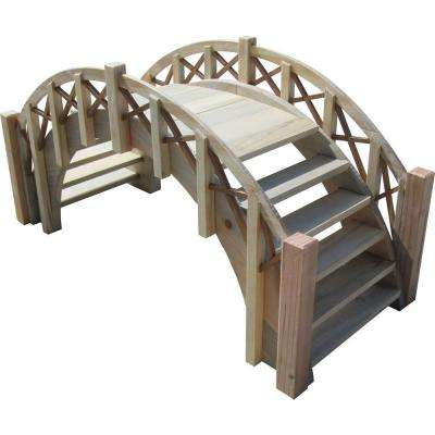 33 in. Fairy Tale Miniature Wood Garden Bridge with Lattice Railings