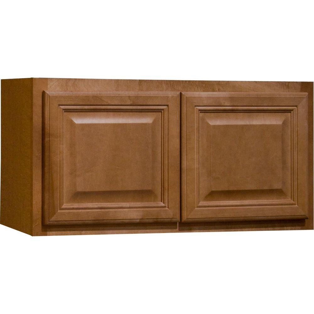 Hampton Bay Cambria Assembled 30x15x12 in. Wall Bridge Kitchen Cabinet in Harvest