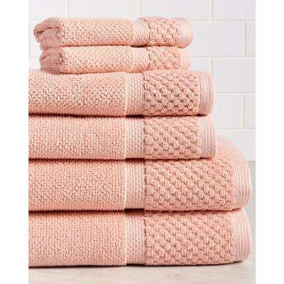Diplomat 6-Piece 100% Cotton Bath Towel Set in Coral