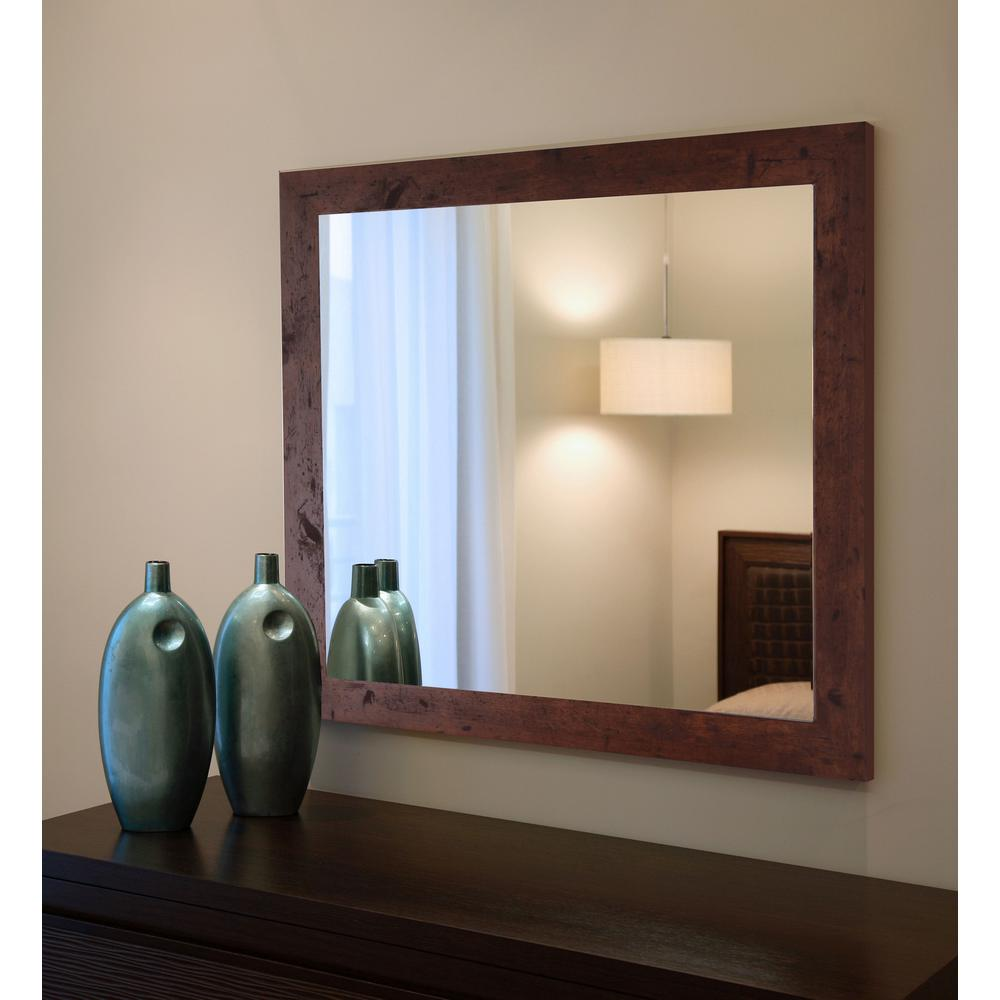60 In X 40 Rustic Dark Walnut Non Beveled Vanity Wall Mirror