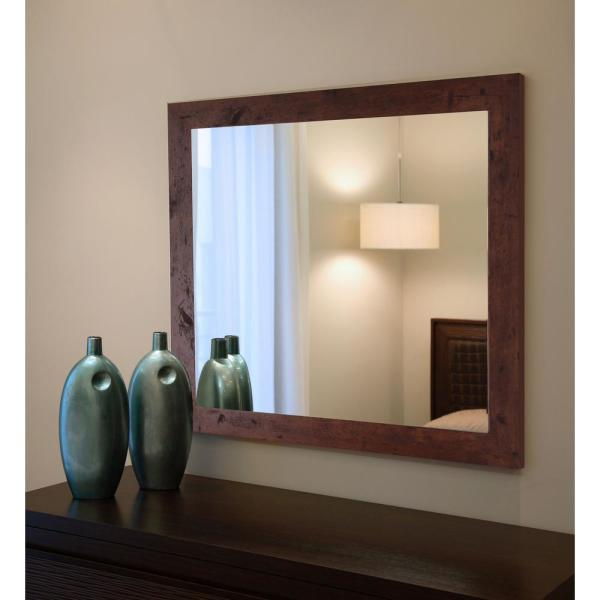 Large Rectangle Dark Walnut American Colonial Mirror (48 in. H x 36 in. W)