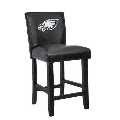 Philadelphia Eagles 24 in. Black Bar Stool with Faux Leather Cover (Set of 2)