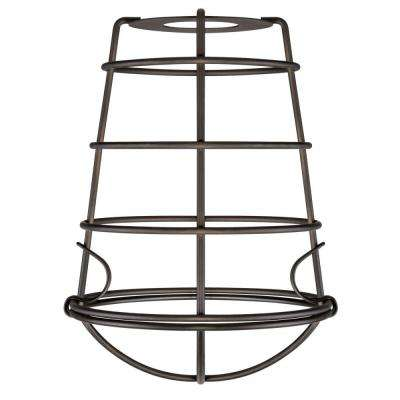 8-3/16 in. Oil Rubbed Bronze Industrial Cage Shade with 2-1/4 in. Fitter and 6 in. Width