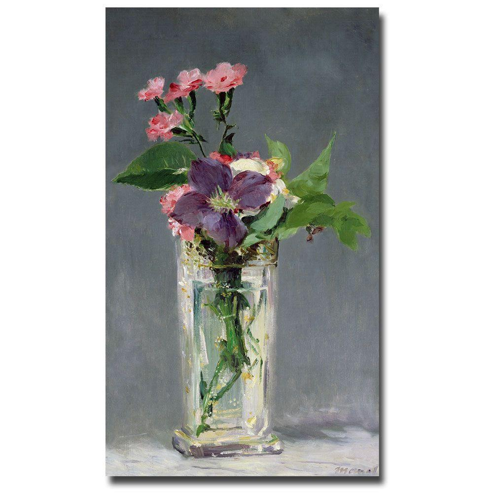 Trademark Fine Art 18 in. x 32 in. Pinks and Clemantis in a Vase, 1882 Canvas Art