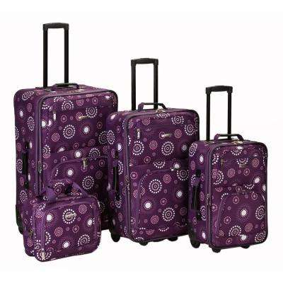 Rockland Beautiful Deluxe Expandable Luggage 4-Piece Softside Luggage Set, Purplepearl
