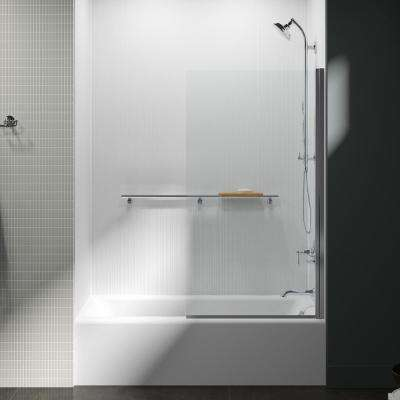 Aerie 32 in. W x 56.93 in. H Frameless Glass Panel in Bright Polished Silver