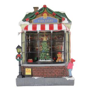 Exhart Toy Shop with Revolving Train Garden Decor by Exhart