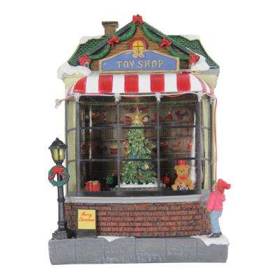 Toy Shop with Revolving Train Garden Decor