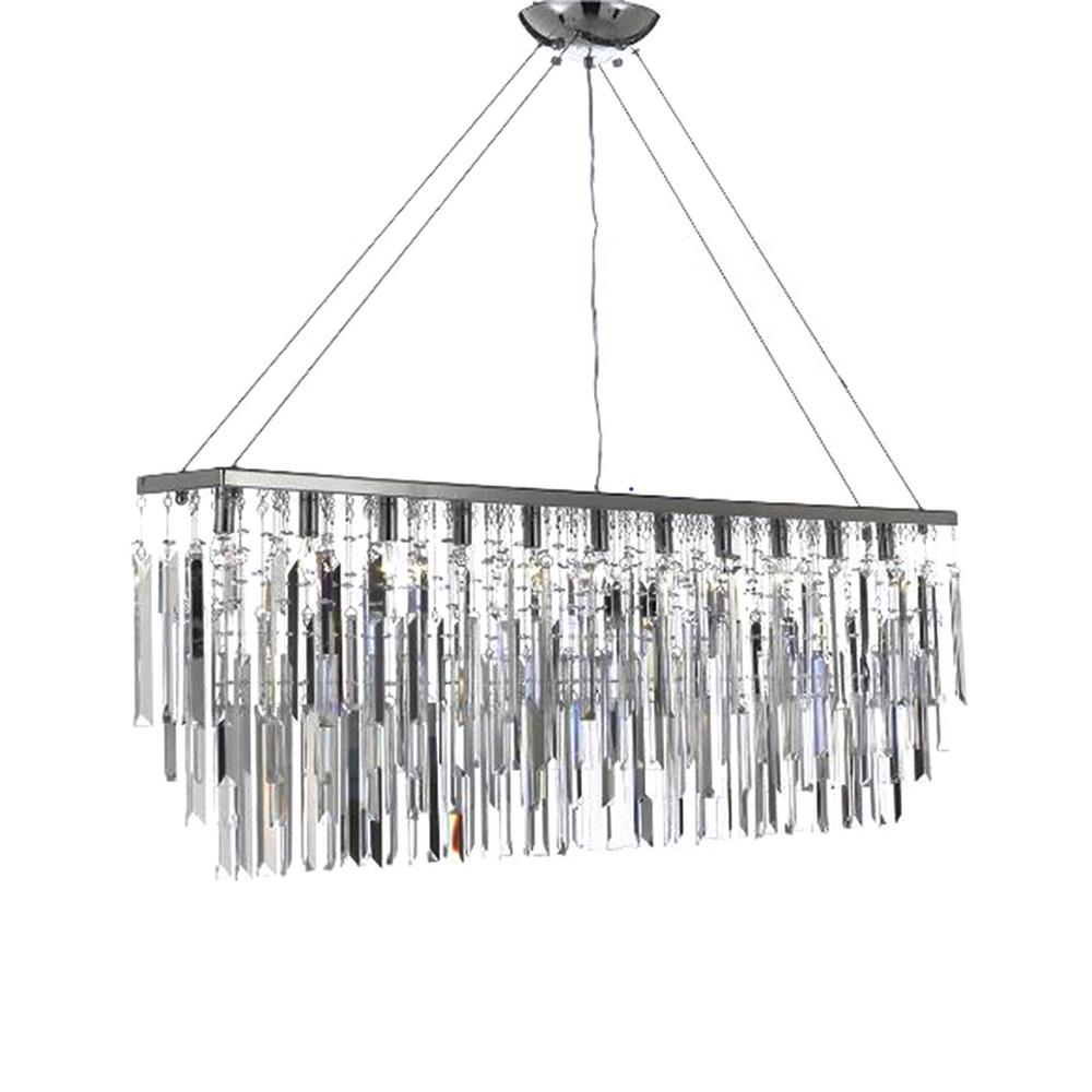 Harrison Lane Modern Contemporary 11 Light Chrome Island Chandelier Pendant With Crystal Icicles