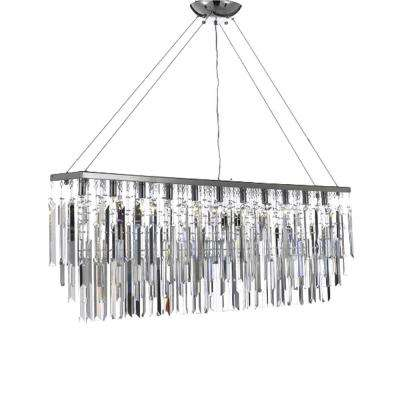 Modern Contemporary 11-Light Chrome Island Chandelier Pendant with Crystal Icicles