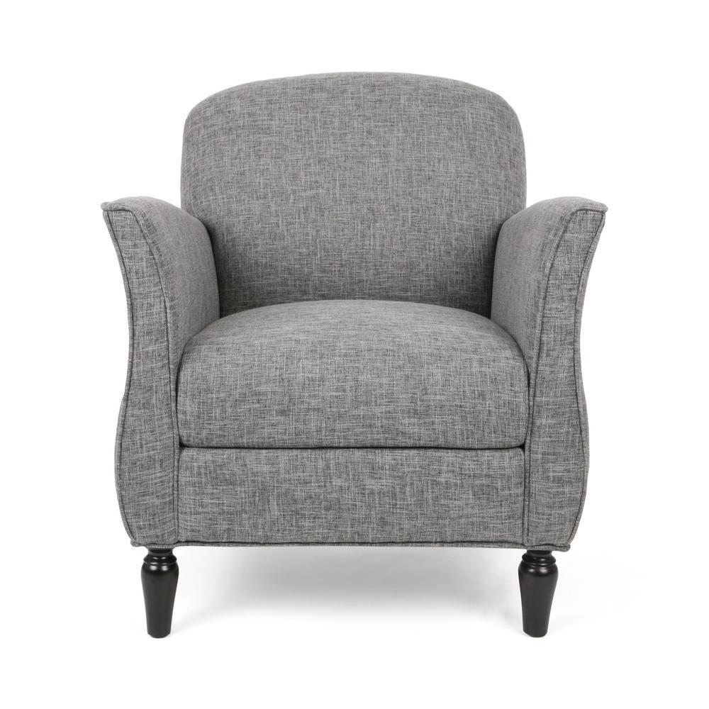 Swainson Traditional Gray Tweed Fabric Armchair