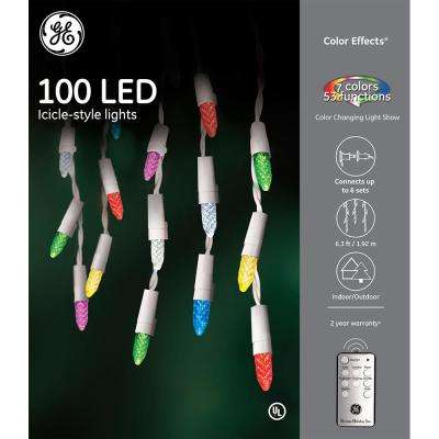 Color Effects 6.3 ft.100-Light RF Controlled Light Show 8 mm Faceted Icicle Light Set