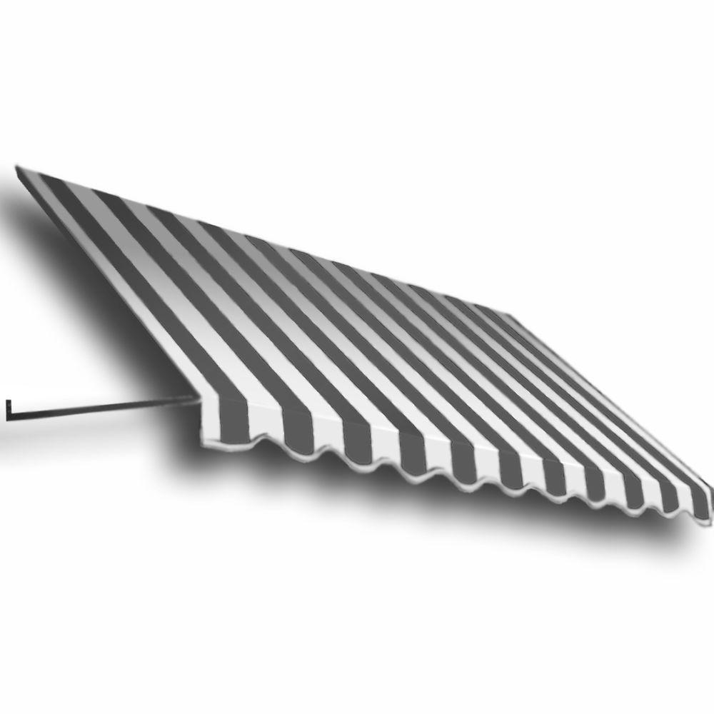 AWNTECH 16 ft. Dallas Retro Window/Entry Awning (16 in. H x 30 in. D) in Gray/White Stripe