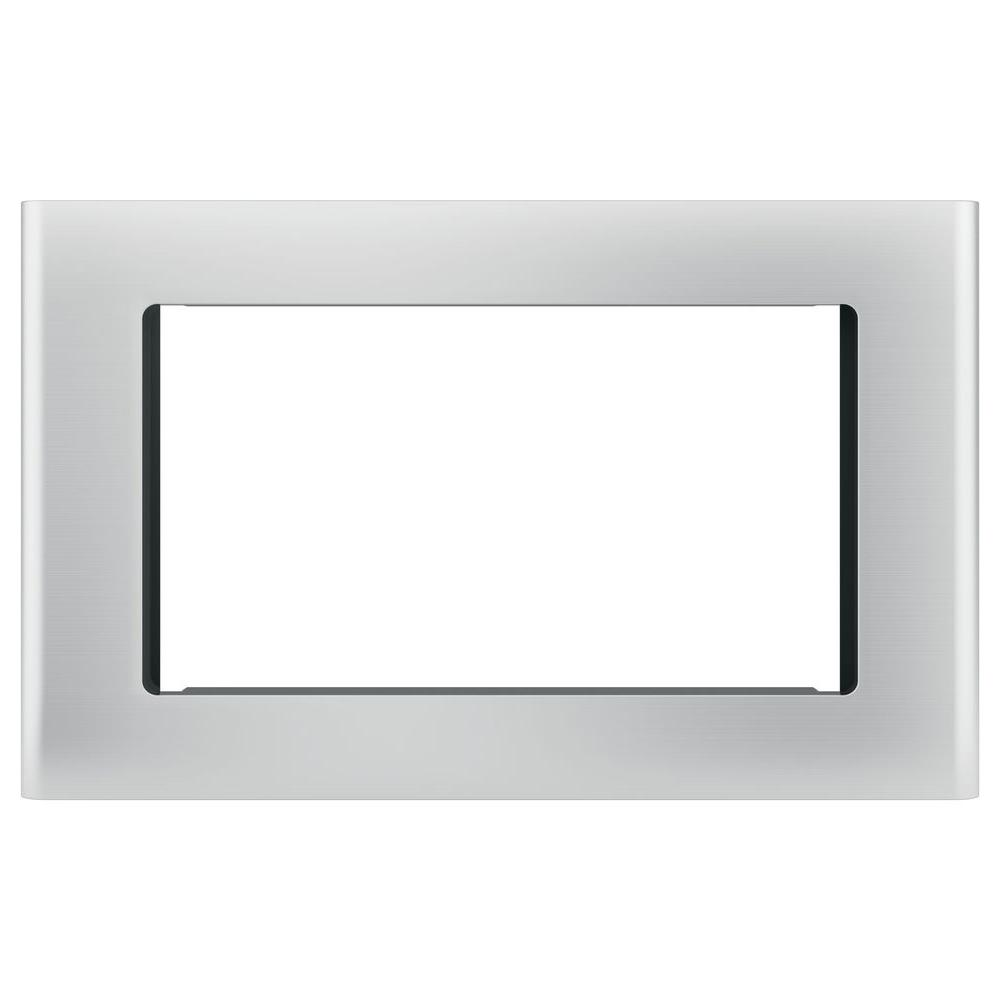 GE Microwave Optional 27 in. Built-In Trim Kit in Stainless Steel (Silver) Get a custom appearance for your microwave with the GE Built-In 27 in. Microwave Trim Kit in Stainless Steel. With a timeless look, this trim kit is ideal for the home or office to be enjoyed for years and years to come. It is intended for the GE 1.5 cu. ft. microwave oven.