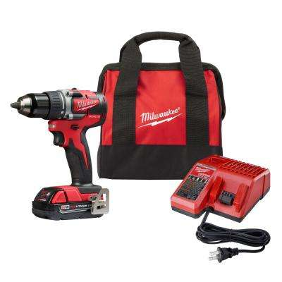 M18 18-Volt Lithium-Ion Compact Brushless Cordless 1/2 in. Drill/Driver Kit W/ (1) 2.0 Ah Battery, Charger & Tool Bag