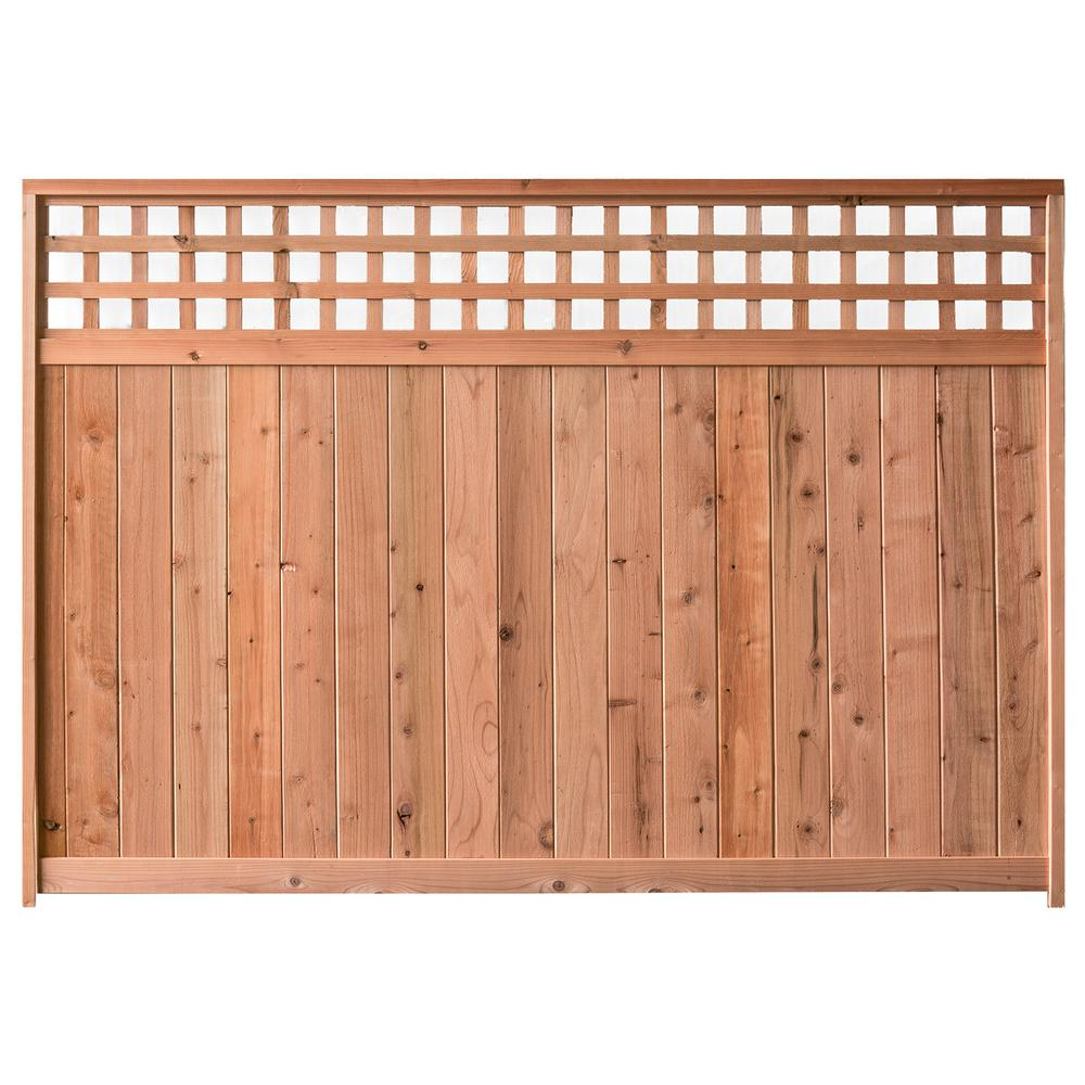 Wide Redwood Construction Heart Horizontal Lattice Top Fence