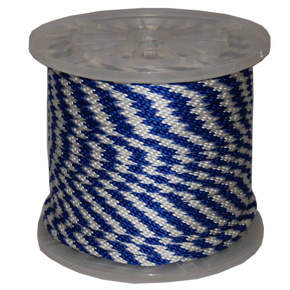 T.W. Evans Cordage 3/8 in. x 300 ft. Solid Braid Multi-Filament Polypropylene Derby Rope in Blue and White