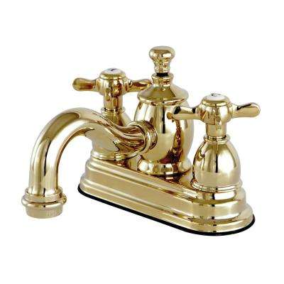 French Cross 4 in. Centerset 2-Handle Mid-Arc Bathroom Faucet in Polished Brass