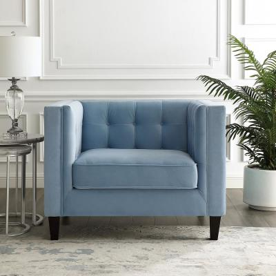 Miah Velvet Club Arm Chair Slate Blue Button Tufted Nailhead Trim