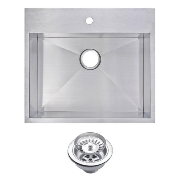 Drop-In Zero Radius Stainless Steel 25 in. 1-Hole Single Bowl Kitchen Sink with Strainer in Satin