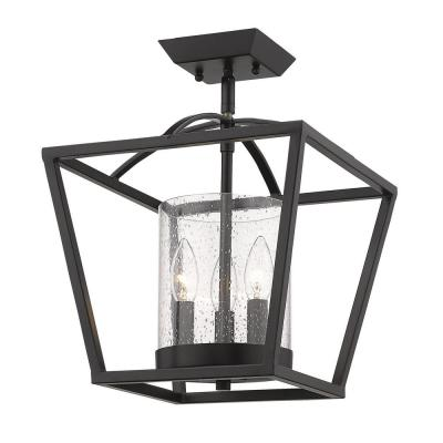 Mercer 12 in. 3-Light Matte Black Semi-Flush Mount