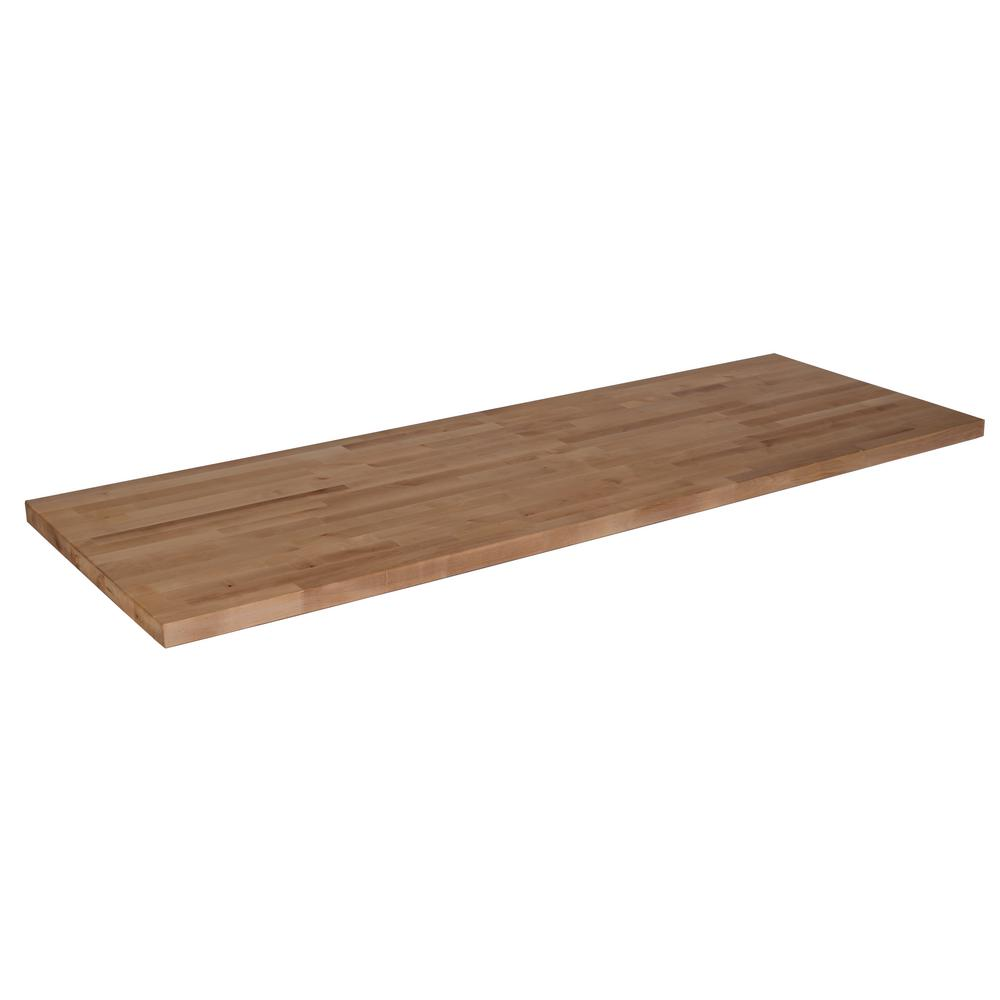 hardwood reflections 10 ft l x 2 ft 1 in d x 1 5 in t butcher block countertop in unfinished. Black Bedroom Furniture Sets. Home Design Ideas
