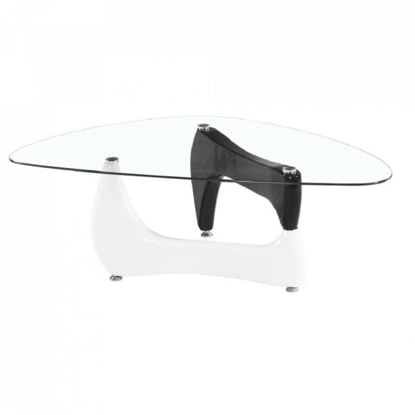 Fab Glass And Mirror Noguchi Style Glass Coffee Table With Black And