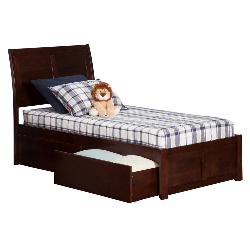 Atlantic Furniture Portland Walnut Twin Platform Bed With Flat Panel