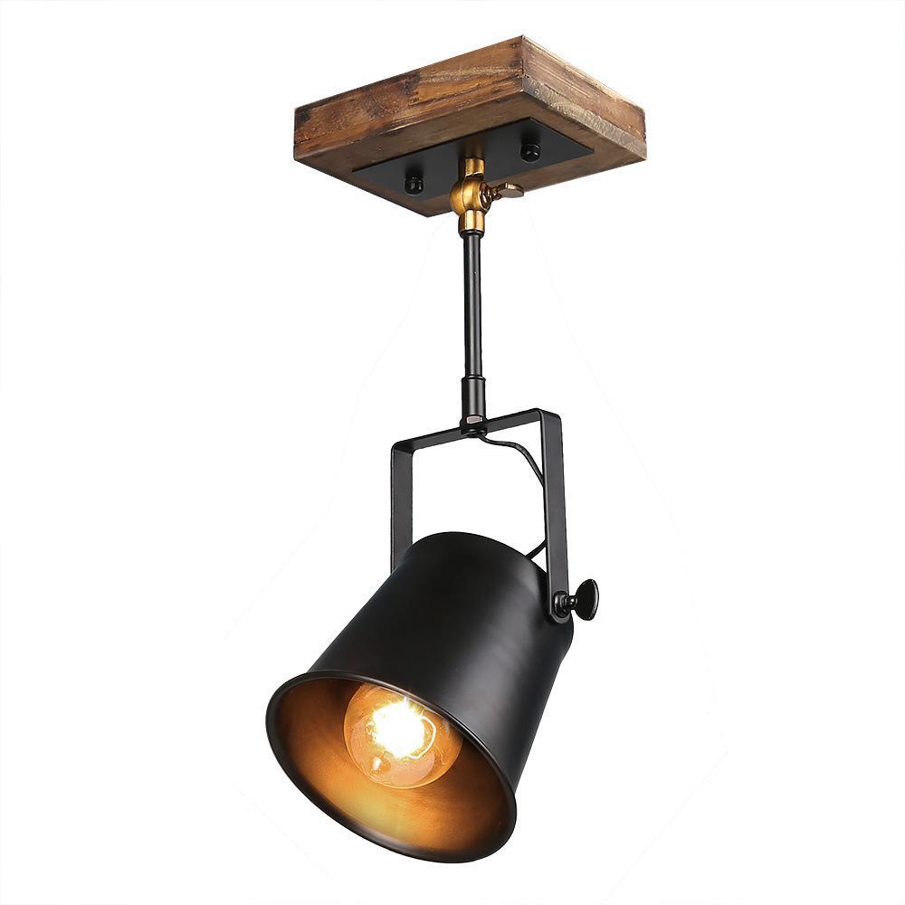 1-Light Wooden Track Lighting Pendant