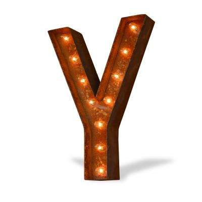 24 in. High Rusted Steel Alphabet Letter Y Plug-In Marquee Lights