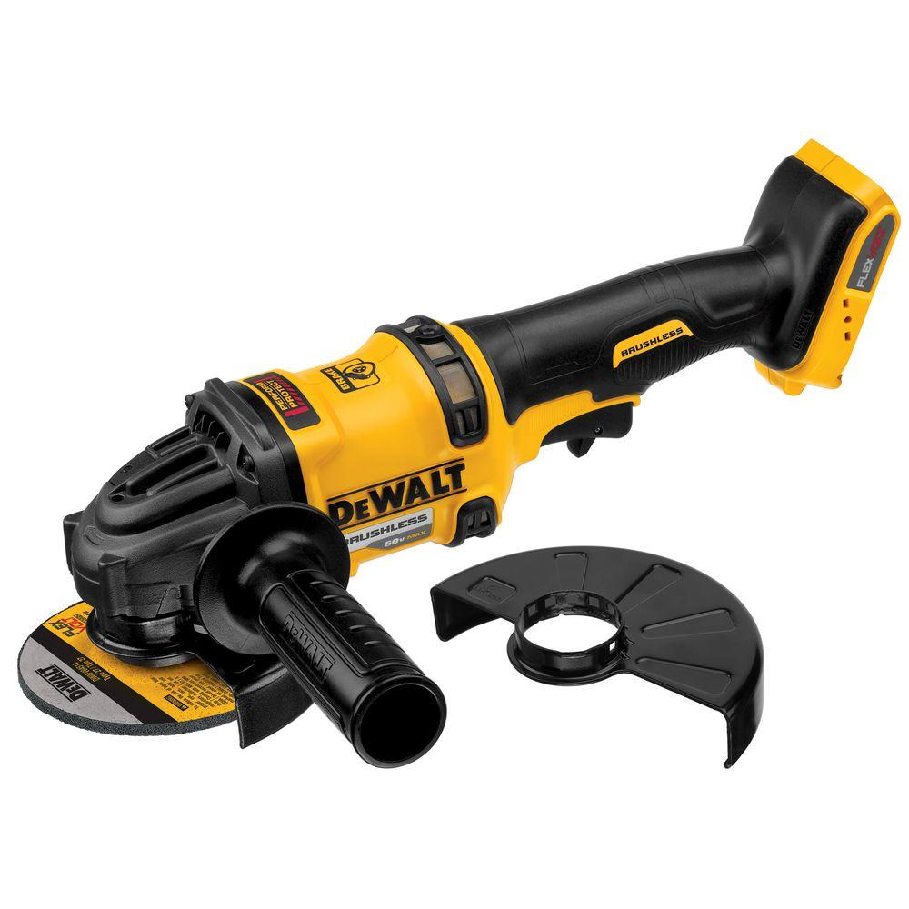 cordless grinder. dewalt flexvolt 60-volt max lithium-ion cordless brushless 4-1/2 in. to 6 angle grinder with kickback brake (tool-only)-dcg414b - the home depot