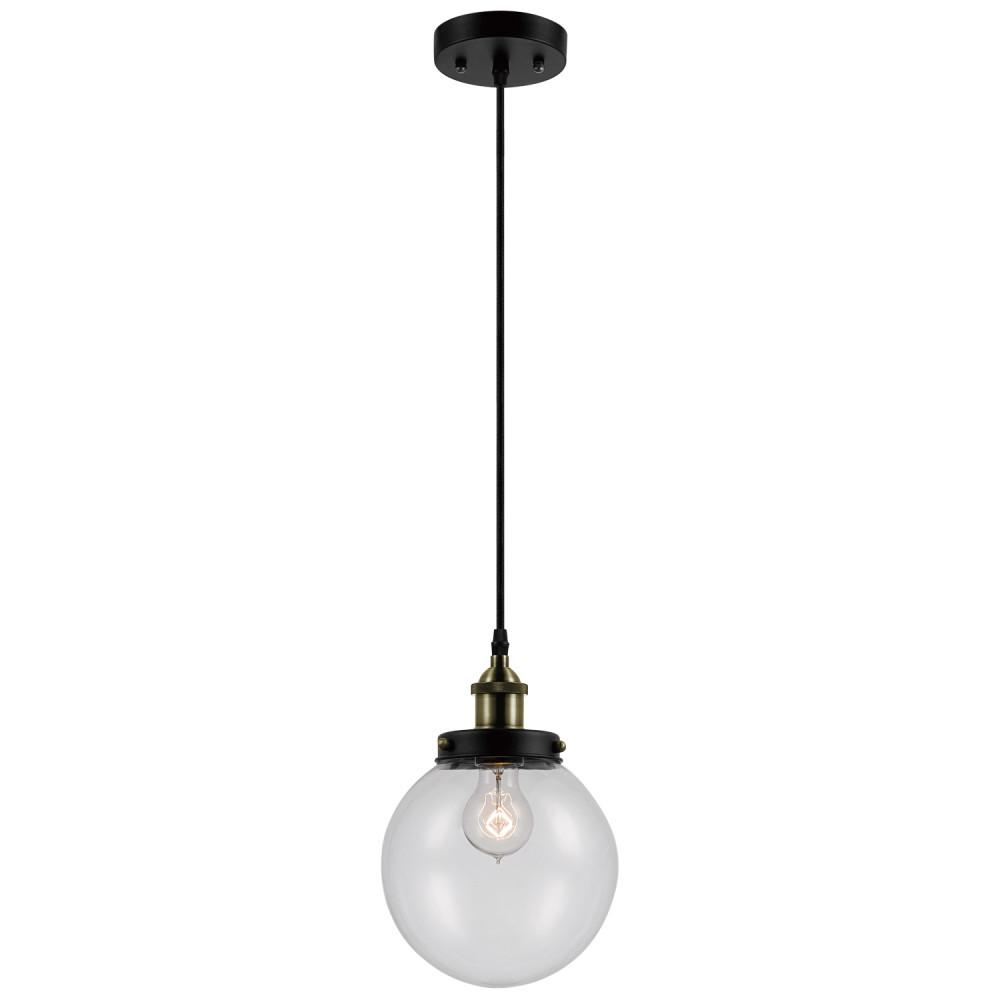 globe electric daario 1 light bronze and antique brass hanging pendant with clear glass shade. Black Bedroom Furniture Sets. Home Design Ideas